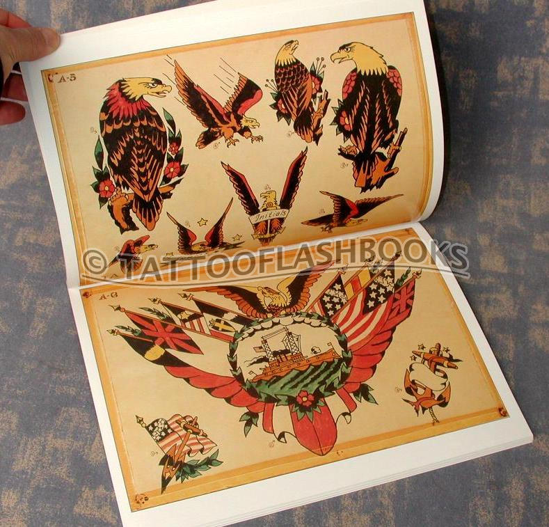 85 sheets of vintage antique tattoo flash collected into one book Hundreds